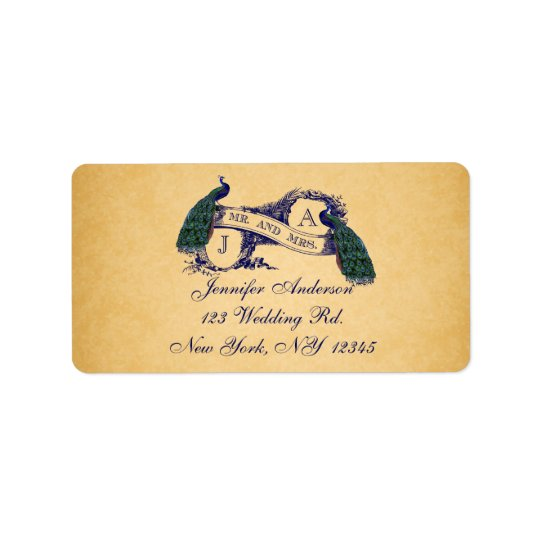 Blue Peacock Vintage Paper Wedding RSVP Label
