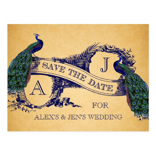 Blue Peacock Vintage Save the Date Postcard