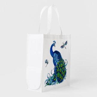 Blue Peacock w Dragonflies 2 side Reusable Bag Market Totes