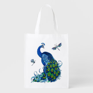 Blue Peacock with Dragonflies Reusable Bag Market Tote