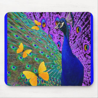 Blue Peacock Yellow Butterflies Fantasy Art Mouse Pad