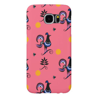 Blue Peacocks on Pink Samsung Galaxy S6 Cases
