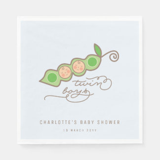 Blue Peas in a Pod Twin Boys Baby Shower Party Napkin