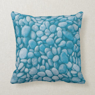 Blue pebble stones Throw Pillow