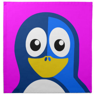 Blue Penguin on Purple Napkin