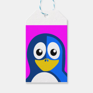 Blue Penguin on Purple Pack Of Gift Tags