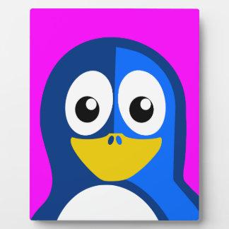 Blue Penguin on Purple Plaque