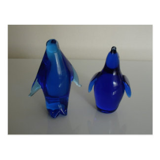 blue penguin paper weight postcard