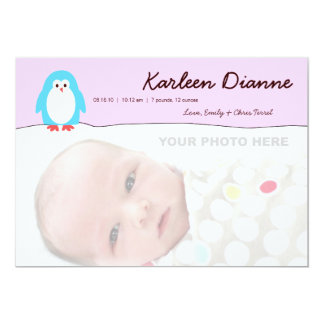 Blue Penguin Pink Sky Birth Announcement
