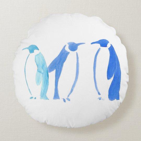 Blue Penguins Pillow