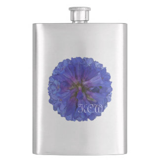 Blue Penstemon Monogrammed Hip Flask