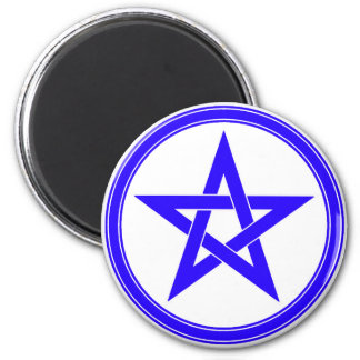 Blue Pentacle 2 Inch Round Magnet