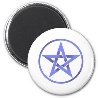 Blue Pentagram Pentacle 2 Inch Round Magnet