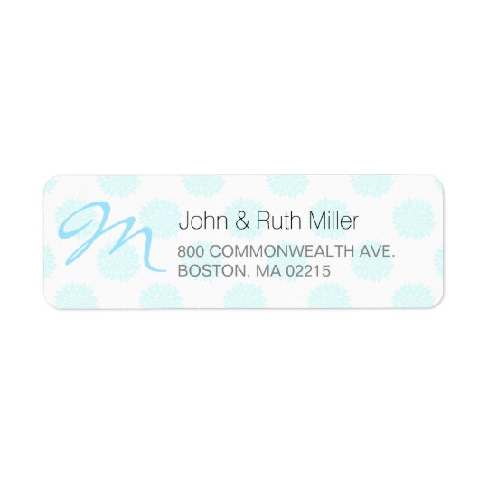Blue Peonies with Monogram Return Address Labels 2