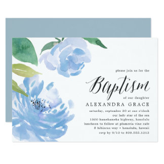 Blue Peony | Baptism Invitation