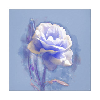 BLUE PEONY IN OILS WRAPPED CANVAS