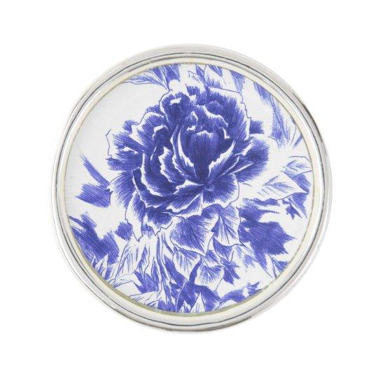 Blue Peony Lapel Pin