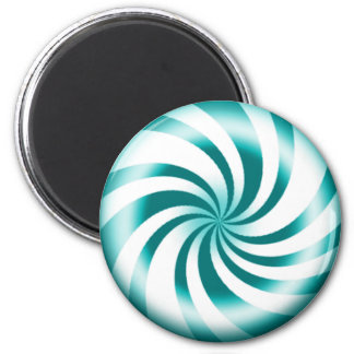 Blue Peppermint Candy Round Refrigerator Magnet