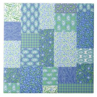 Blue Periwinkle Floral Boho Faux Patchwork Pattern Tile