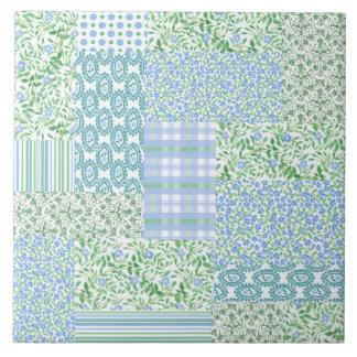 Blue Periwinkle Flowers Vintage Faux Patchwork Ceramic Tile