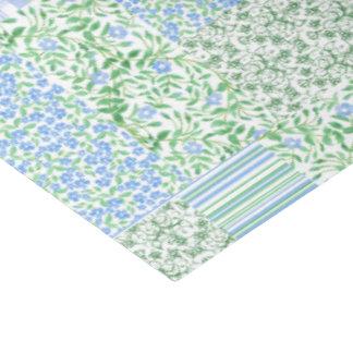Blue Periwinkle Flowers Vintage Faux Patchwork Tissue Paper
