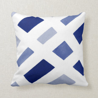 Blue Periwinkle White Geometric Watercolor Throw Pillow