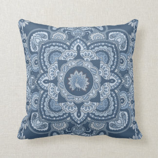 Blue Persian Peacock Throw Pillow