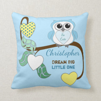 Blue Personalized baby name  Owl dream big Throw Pillow