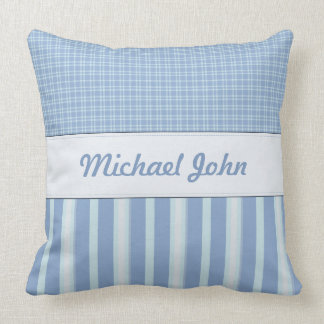 Blue Personalized Baby Nursery Pillow
