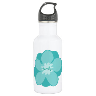 Blue personalized flower 532 ml water bottle