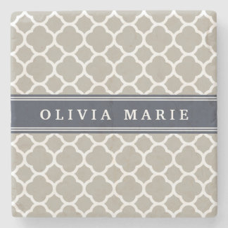 Blue Personalized Name Grey Quatrefoil Pattern Stone Coaster