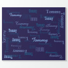 blue personalized name wrapping paper