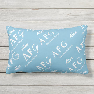 blue personalized . named lumbar pillow