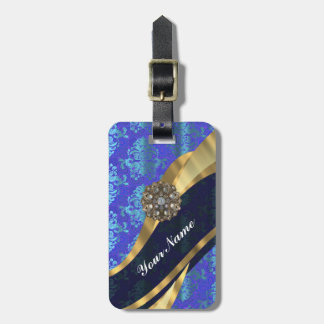 Blue personalized pretty damask pattern luggage tag