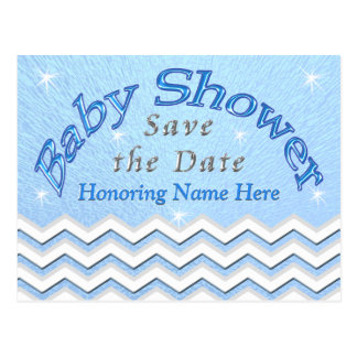Blue Personalized Save the Date Baby Shower Cards Postcard