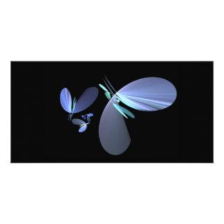 blue-petal-fractal photo card template