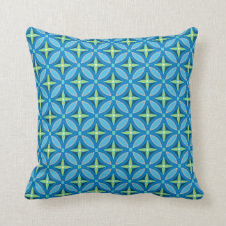 Blue Petals and Ornaments Throw Pillow