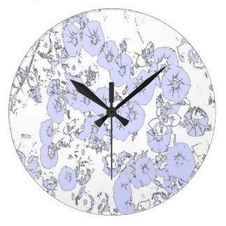 Blue Petunias Large Clock