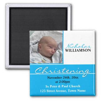 Blue Photo Christening or Baptism Invitation Square Magnet