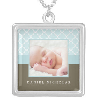 Blue Photo Frame Custom Necklace