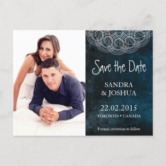 Blue Photo Save the date wedding postcard