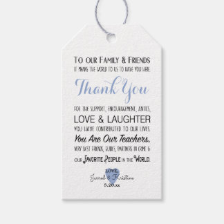 Blue PHOTO wedding thank you favor tag
