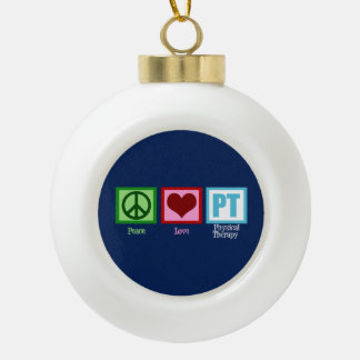 Blue Physical Therapy Ceramic Ball Ornament