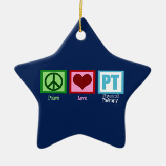 Blue Physical Therapy Ceramic Star Ornament