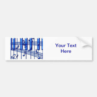 Blue Piano Keyboard Bumper Sticker