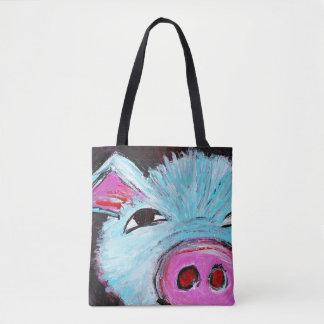 Blue Pig Tote Bag (Customizable)