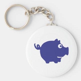blue piggy bank icon basic round button keychain