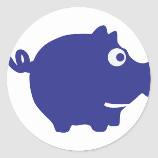 blue piggy bank icon classic round sticker