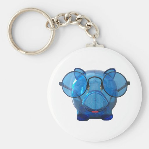 Blue Piggy Bank with Glasses Key Chains