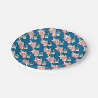 Blue Piggy Birthday Plates 7 Inch Paper Plate